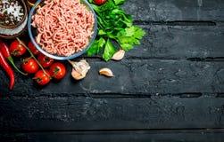 Surowy minced mięso w pucharze z warzywami i ziele fotografia stock