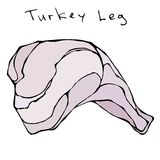 surowy noga indyk Realistyczna Wektorowa ilustracja Odizolowywający ręka Rysujący Doodle lub kreskówki stylu nakreślenie Świeży p royalty ilustracja