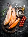Surowy pstrąg na tnącej desce z pikantność, rozmarynami i pomidorami na gałąź, obrazy royalty free