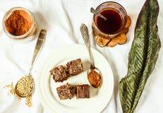 Surowy punkt z figami i zieloną gryką, weganin dieta Obraz Stock