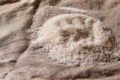 Surowy ryż rozprasza na parciaku Uncooked jedzenie Selekcyjna ostrość zdjęcie stock