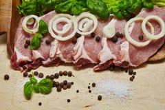 Surowy stek z pikantnością i sałatką Zdjęcie Stock
