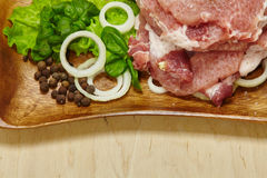 Surowy stek z sałatką Obraz Royalty Free