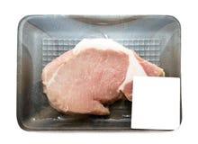 Surowy wieprzowiny loin w pakować tacę z metką Obrazy Stock