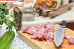 Surowy wieprzowiny szyi mięsa cięcie w plasterkach Zdjęcia Royalty Free