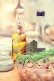 Surowy wieprzowiny szyi mięsa cięcie w plasterkach z marynowanym Obraz Royalty Free