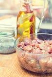 Surowy wieprzowiny szyi mięsa cięcie w plasterkach z marynowanym fotografia stock