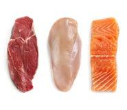 Surowy wołowiny ryba i kurczaka Odosobniony Odgórny widok fotografia stock