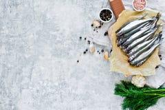 Surowy wytapia na ciapanie desce, koperze, menchii soli, pieprzu i czosnku drewnianych, Szary t?o, odg?rny widok, przestrze? dla  zdjęcia royalty free