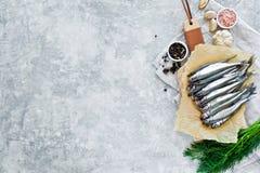 Surowy wytapia na ciapanie desce, koperze, menchii soli, pieprzu i czosnku drewnianych, Szary t?o, odg?rny widok, przestrze? dla  zdjęcia stock
