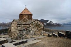 Surp Astvatsatsin kyrka i Sevanavank den ortodoxa kloster, Armenien Royaltyfri Bild