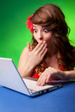 Surpirse. Surprised young woman at a computer Royalty Free Stock Photos