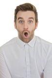 Surpise chocó la boca del hombre abierta Fotos de archivo
