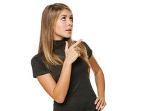 Woman pointing to the side Stock Photography