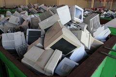 Surplus Electronics. Plant for recycling old computers Royalty Free Stock Photos