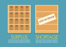 Surplus en Tekort economisch infographic concept vector illustratie