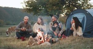 Surpreendendo duas famílias têm uma estadia do piquenique com uma barraca no meio da natureza na fogueira elas que sentam-se ao r video estoque