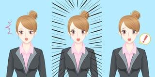 Surpresa da sensação da mulher de negócio dos desenhos animados Imagens de Stock