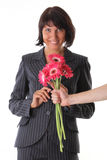 Surpresa - mulher do prazer e mão do macho com flor fotos de stock