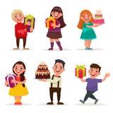 Surpresa para crianças Meninos e meninas com presentes e aniversário Ca Imagens de Stock