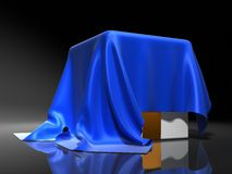 Surprise. Box covered from above a blue silk cloth Stock Images