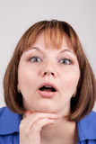 Surprise. The young woman with surprise expression on the face Stock Photography