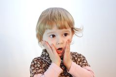 Surprise. Nice child posing surprise emotion Royalty Free Stock Image