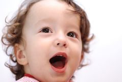 Surprise. A child face close up Stock Image