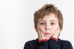 Surprise. Little boy showing surprise emotion Royalty Free Stock Photography