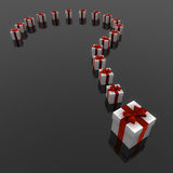 Surprise. Render of a Question mark of presents on black background Stock Image