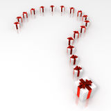 Surprise. Render of a Question mark of presents Royalty Free Stock Photography