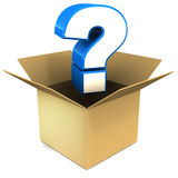 Surprise. Box with question mark coming out, concept of surprise, white background stock illustration