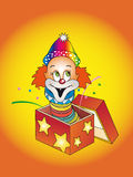 Surprise !. Illustration with happy clown in a box Stock Images
