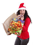 Surprise. Woman portraying father Christmas with a surprising expression Royalty Free Stock Photography