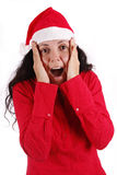 Surprise. Woman portraying father Christmas with a surprising expression Stock Photography