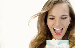 Surprise!. Beautiful Blonde Overjoyed by her Surprise Gift Stock Image