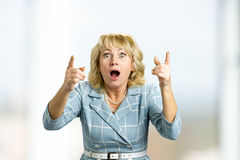 Surprise astonished mature woman. Royalty Free Stock Images