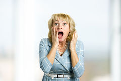 Surprise astonished middle aged woman. Stock Images