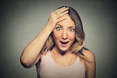 Surprise astonished woman in full disbelief wide open mouth Royalty Free Stock Photo