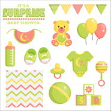 It is a surprise baby shower set. It is a surprise baby shower items collection for party, event decoration when sex of a baby is unknown. Design elements for vector illustration