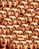 Surprise Background 17. An image of a background made out of a load of surprised or scared women Stock Image