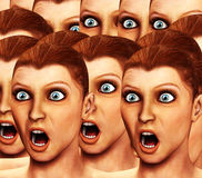 Surprise Background 2. An image of a background made out of a load of surprised or scared women Stock Photo