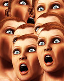 Surprise Background 3. An image of a background made out of a load of surprised or scared women Stock Images