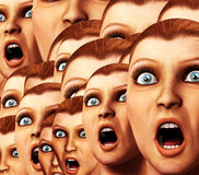 Surprise Background. An image of a background made out of a load of surprised or scared women Royalty Free Stock Photos