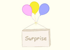 Surprise on balloons Royalty Free Stock Photos