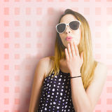 Surprise beauty girl on pink salon wall Stock Images