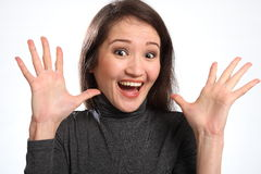 Surprise big excited expression from young woman Stock Image