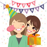 Surprise Birthday Gift. Happy mother covering her daughter eyes and offering a surprise birthday gift at anniversary party stock illustration