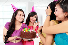 Surprise birthday party. Young beautiful women blindfold during surprise birthday party Royalty Free Stock Photos