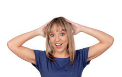 Surprise blond girl Royalty Free Stock Photo